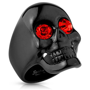 Glossy Surface Skull with Red Gem Eyes Black Ring