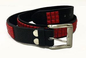Leather Belt with Red Pyramid Studs