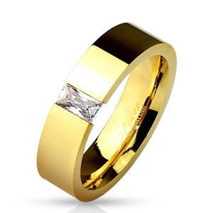 Rectangular CZ Tension Set Gold Ring