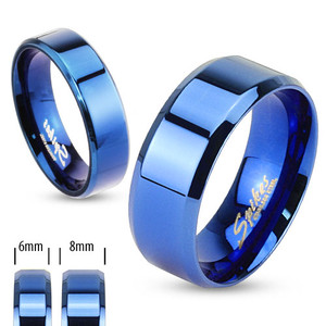 Beveled Edge Flat Band Blue IP Ring