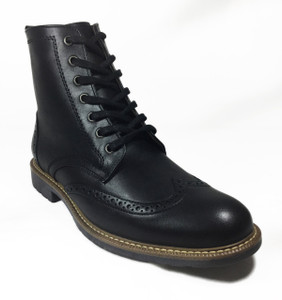 Omarelo Venne - Black Leather Brogue Oxford Style 7 Eye Boots