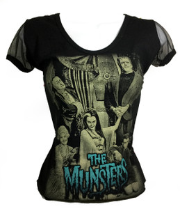 Resurrection - The Munsters Womens T-Shirt with Mesh Sleeves
