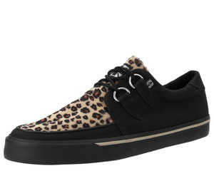 T.U.K. Shoes - A6142 Black Twill & Leopard Faux D-Ring Vegan VLK Sneaker