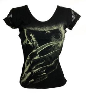 Resurrection - Nightmare on Elm Street's Freddy Women's T-Shirt with Mesh Sleeves