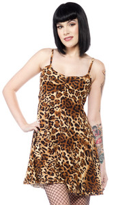 Sourpuss - Leopard Baby Doll Dress