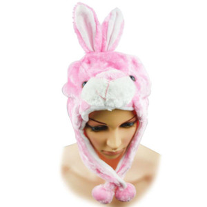 Pink Bunny Plush Wrap-Around Hat