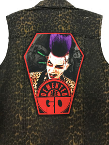 """Go Rocker - Demented Are Go's Sparky 13.5"""" x 10.25"""" Coffin Backpatch"""
