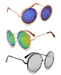Double Frame Oversized Round Sunglasses