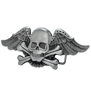 Winged Skull Metal Belt Buckle