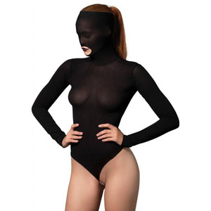 Leg Avenue - Kink Stimulating Beaded String Opaque Masked Teddy
