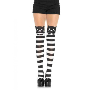 Leg Avenue - Fancy Cat Striped Opaque Pantyhose