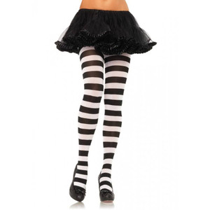 Leg Avenue - Black & White Wide Striped Tights