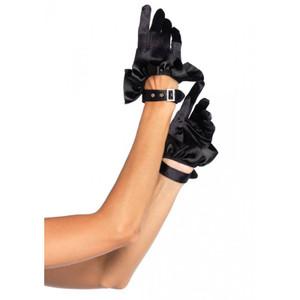 Leg Avenue - Cropped Satin Ruffle Black Gloves