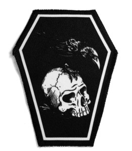 "Go Rocker - Skull & Raven 6.75x3.5"" Coffin Patch"