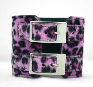 Double Decker Leopard Faux Fur Cuff Bracelet
