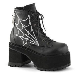 Lace-Up Front Ankle Boot w/ Spider Web Charm by Demonia