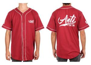 Antifashion - Men's Anti Baseball Style Red Button-Up Shirt
