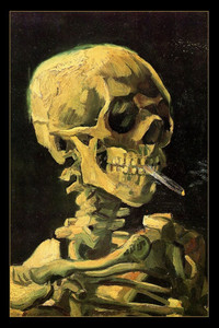 "Van Gogh's Skull of a Skeleton with Burning Cigarette 24x36"" Poster"