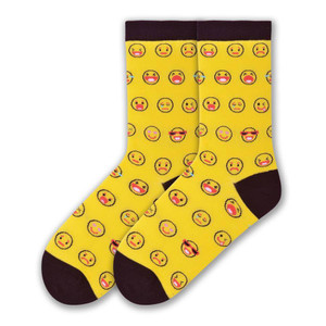 K. Bell - Yellow Emoticons Crew Socks
