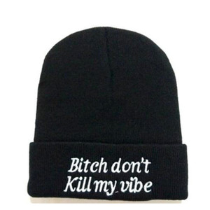 Black Beanie Embroidered Bitch Don´t Kill My Vibe Emblem