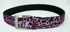 Pink Leopard Leather Belt