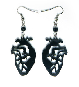 Gothic Black Anatomical Heart Earrings