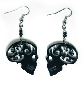 Black Gothic Skull Earrings