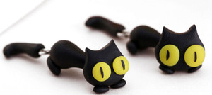 Crazy Eyes Black Cat Earrings
