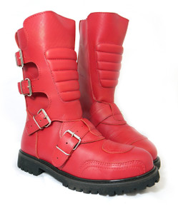 Road Warrior - Goose 4-Strap Harness Red Leather Boots