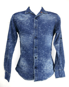 Faux Denim Long Sleeve Dress Shirt