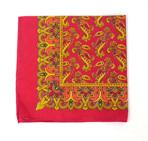 Classic Pattern Bandana - Red and Gold 1