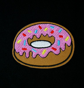 "Pink Glazed Donut 2x2"" Embroidered Patch"