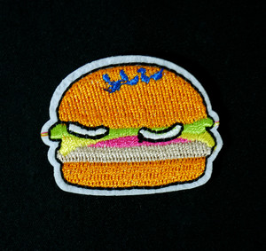 "Food - Hamburger 2x2"" Embroidered Patch"