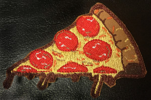 "Food - Pizza Slice with Melting Cheese 3.5x2"" Embroidered Patch"