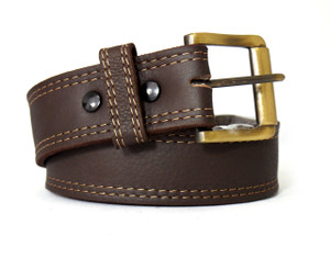 Gold Stitching Brown Colored Leather Belt
