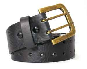 Double Perforated Gold Buckle Black Leather Belt
