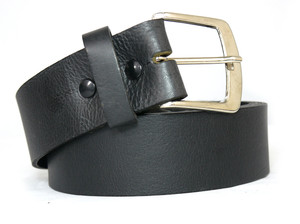 Black Buttons Black Leather Belt