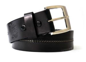 Middle Stitching Black Leather Belt