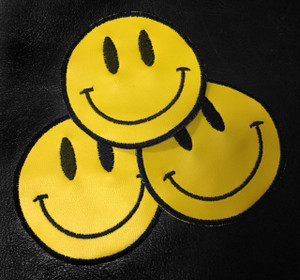 "Happy Face Smiley 3"" Embroidered Patch"