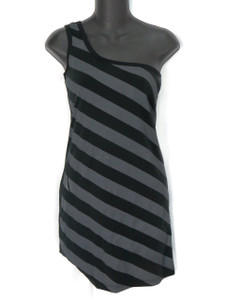 Go Rocker Assymetrical Black Grey Stripped Dress * LAST ONE*