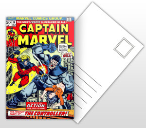 Captain Marvel The Fiendish Fury of The Controller Comic Cover Postal Card