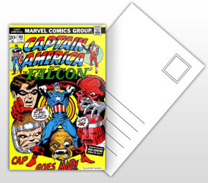 Captain America and The Falcon Cap Goes Mad Comic Cover Postal Card
