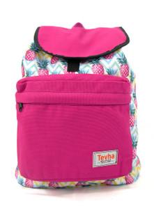 Tevha Supplies - Fuchsia and Pineapple Pattern Pop Rome Backpack