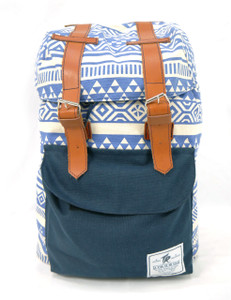 Tevha Supplies - Blue and Greca Pattern Old Boy Backpack