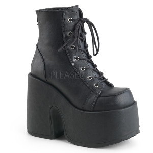 Ankle High Vegan Boots w/ Platform and Lace-Up Method