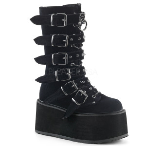 Knee High Velvet Boots with  Platform and Buckles