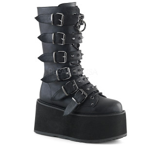 Knee High Vegan Boots with  Platform and Buckles