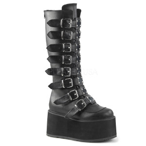 Knee High Vegan Boots w/ Platform Buckles and Straps