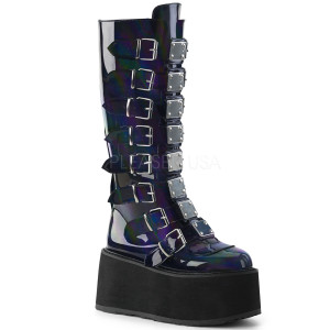 Knee High Black Hologram Boots w/ Platform Buckles and Straps