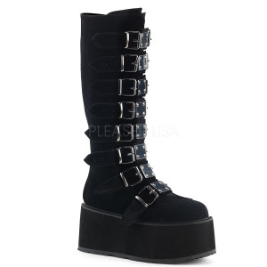 Knee High Velvet Boots w/ Platform Buckles and Straps